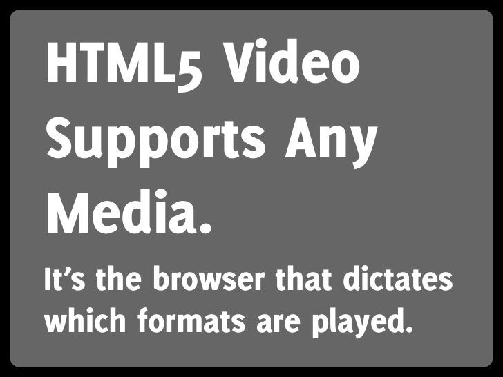 HTML5 Video Supports Any Media. It's the browser that dictates which formats are played.