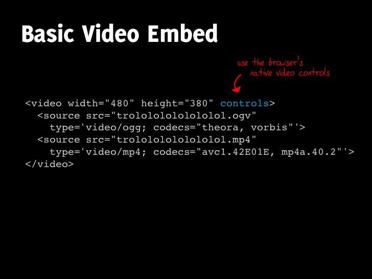 Basic Video Embed                                   use the browser's                                       native video c...