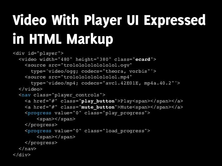 """Video With Player UI Expressed in HTML Markup <div id=""""player"""">   <video width=""""480"""" height=""""380"""" class=""""ecard"""">     <sour..."""