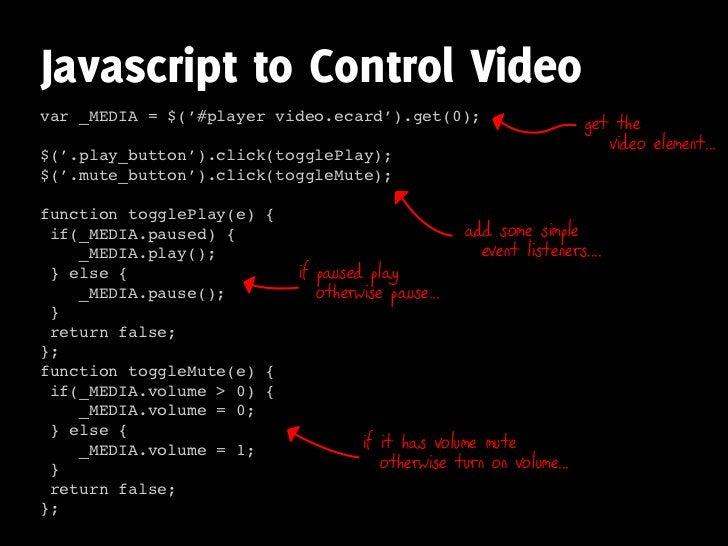Javascript to Control Video var _MEDIA = $('#player video.ecard').get(0);                        get the                  ...