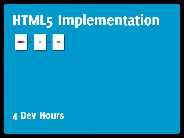 HTML5 Implementation <html>   js   css     4 Dev Hours