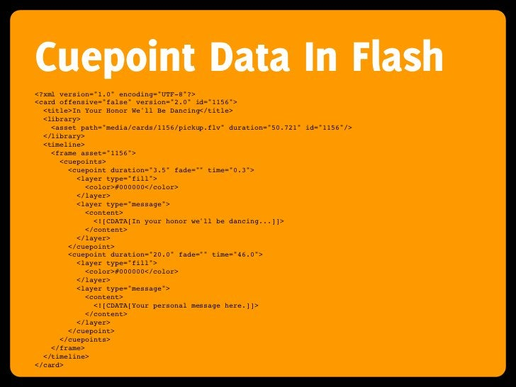 """Cuepoint Data In Flash <?xml version=""""1.0"""" encoding=""""UTF-8""""?> <card offensive=""""false"""" version=""""2.0"""" id=""""1156"""">   <title>In..."""