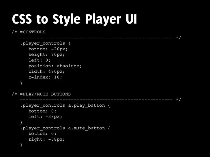 CSS to Style Player UI