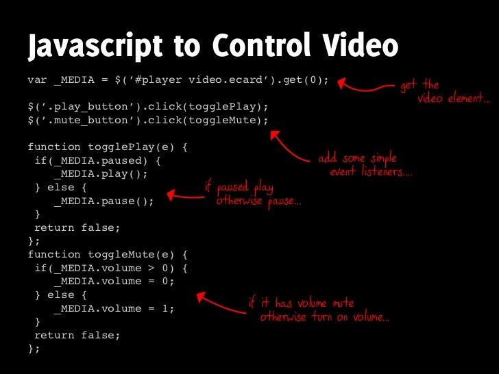 Javascript to Control Video var