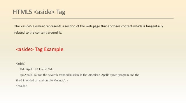 Html5 structure tags