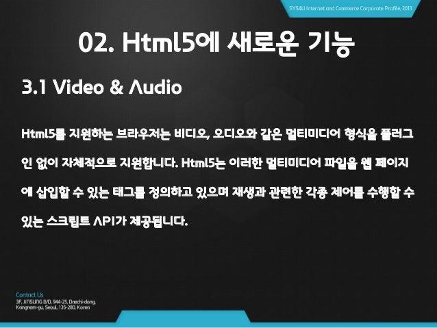 "02. Html5에 새로운 기능 3.1 Video & Audio <사용되고 있는 태그> <video width=""300"" height=""205"" poster=""video.png"" controls> <source type..."