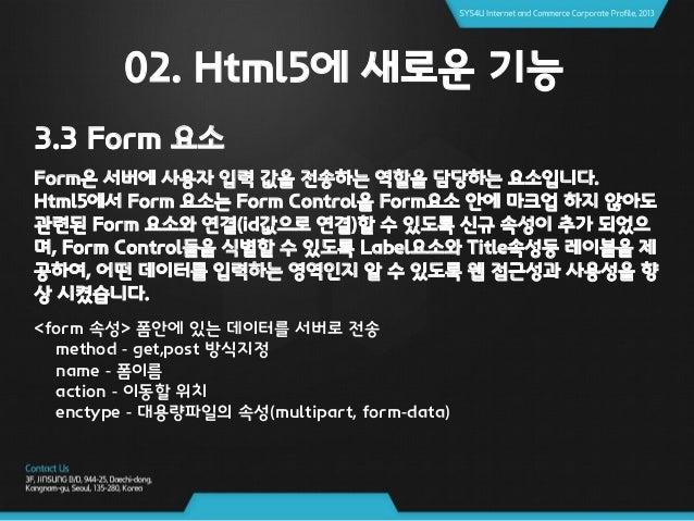 02. Html5에 새로운 기능 3.3 Form 요소 ※ 서버로 보내 질 기존 Form 요소 및 Input Type(코드)
