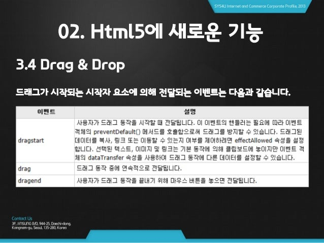 02. Html5에 새로운 기능 3.4 Drag & Drop 드래그 대상에 의해 전달되는 이벤트는 다음과 같습니다.