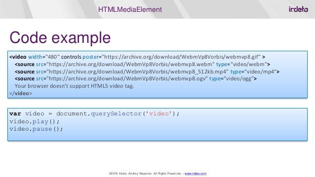 HTML5 Web Video: history, streaming, DRM protection