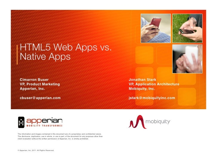 "HTML5 Web Apps vs.!  Native Apps""  Cimarron Buser       !                                          !               !      ..."