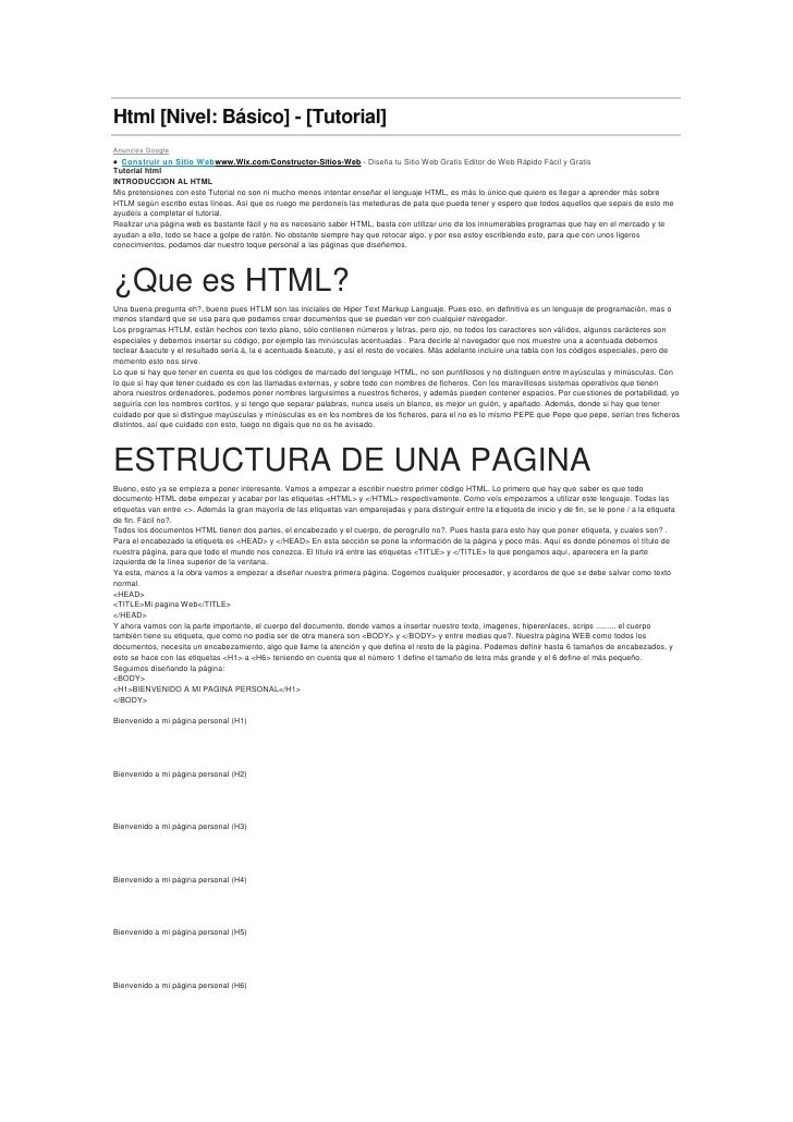 Html [Nivel: Básico] - [Tutorial]<br />Anuncios Google<br />  Construir un Sitio Webwww.Wix.com/Constructor-Sitios-Web-...