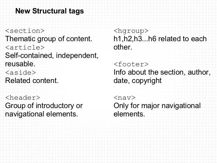 New Structural tags <ul><li><section> </li></ul><ul><li>Thematic group of content. </li></ul><ul><li><article> </li><...