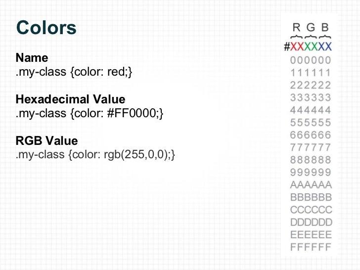 Colors <ul><li>Name </li></ul><ul><li>.my-class {color: red;} </li></ul><ul><li>Hexadecimal Value </li></ul><ul><li>.my-cl...