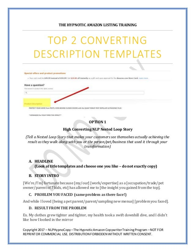 Amazon Copywriting - Increase Sales & Conversions with NLP Nested Loo…