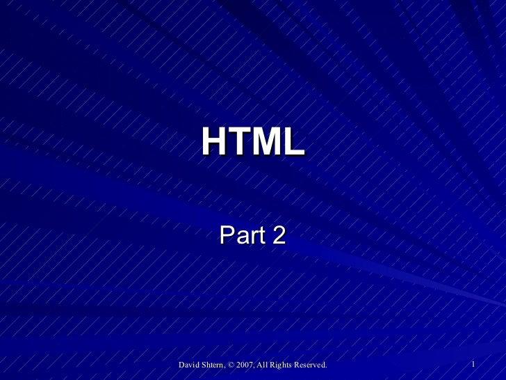 HTML Part 2