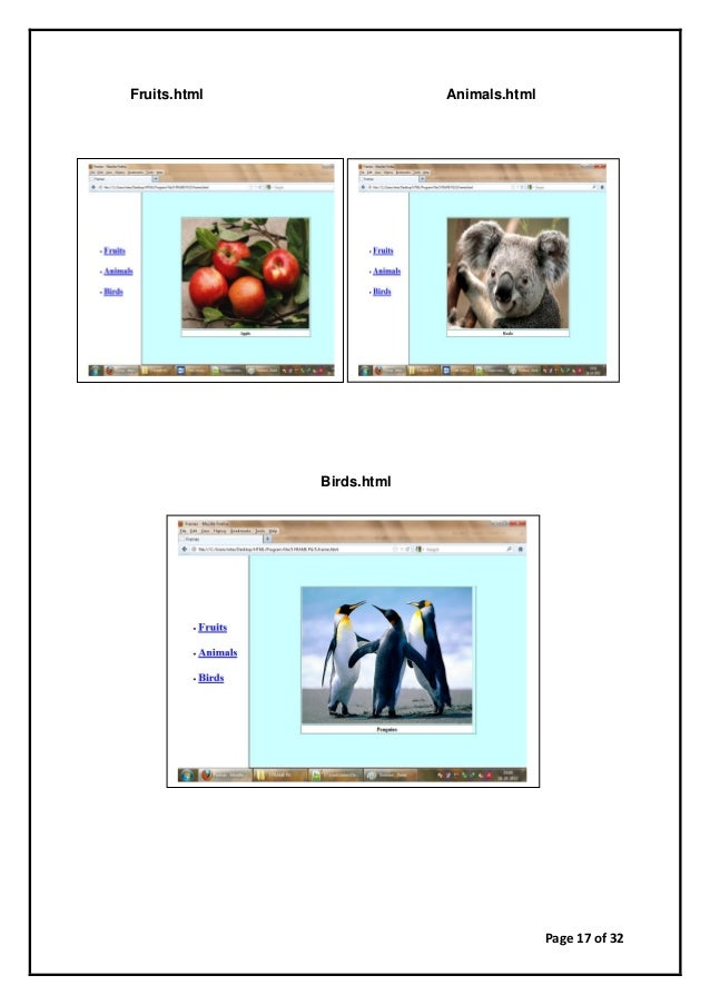 Page 17 of 32 Fruits.html Animals.html Birds.html