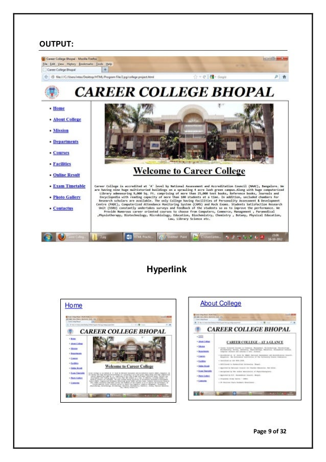 Page 9 of 32 OUTPUT: Hyperlink Home About College