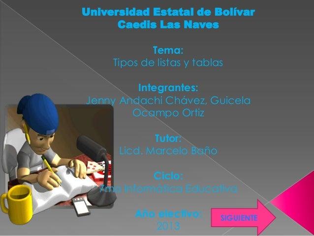 Universidad Estatal de BolívarCaedis Las NavesTema:Tipos de listas y tablasIntegrantes:Jenny Andachi Chávez, GuicelaOcampo...