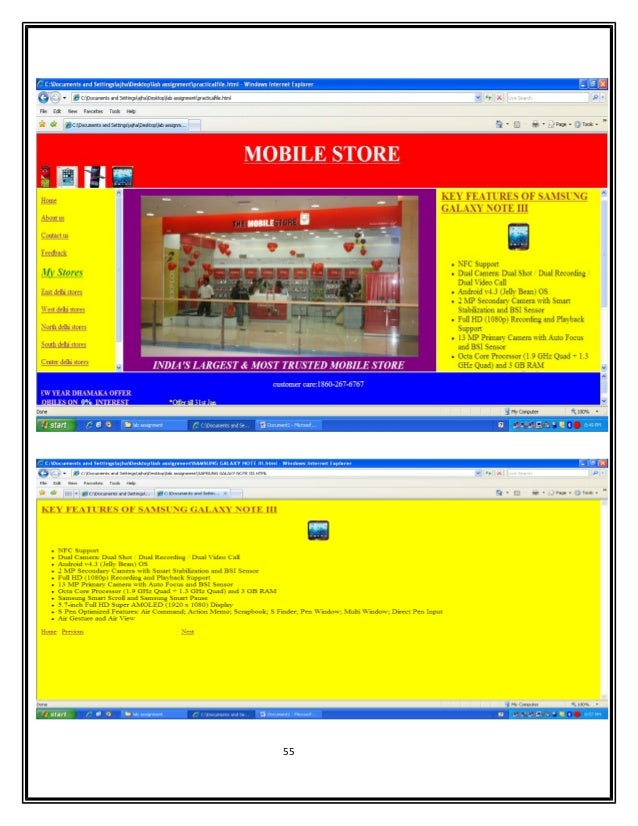 Html project on website of mobile store