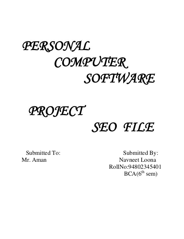 PERSONAL    COMPUTER       SOFTWARE  PROJECT                 SEO FILE Submitted To:          Submitted By:Mr. Aman        ...