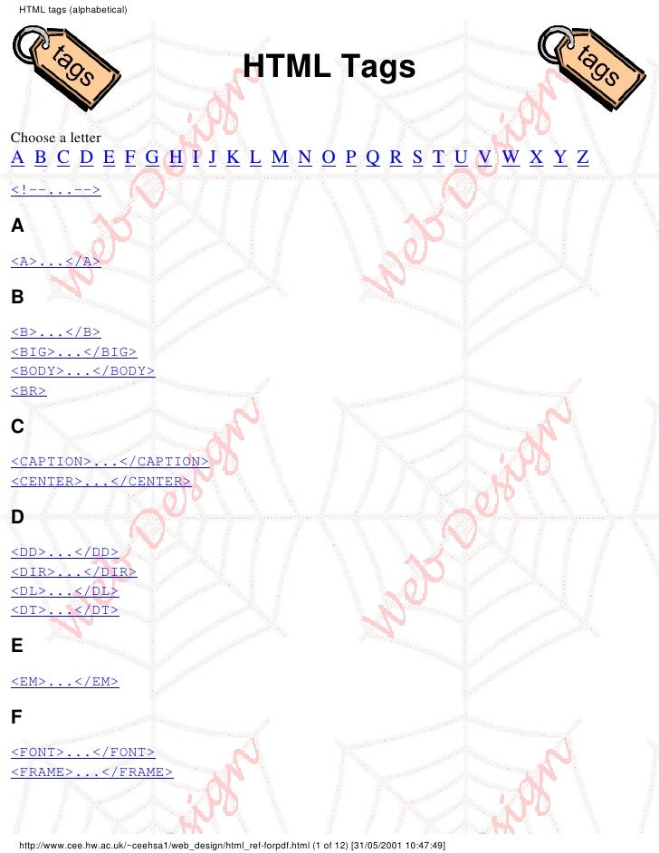 HTML tags (alphabetical)                                                        HTML Tags  Choose a letter A B C D E F G H...
