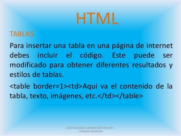 HTML TABLAS Para insertar una tabla en una página de internet debes incluir el código. Este puede ser modificado para obte...