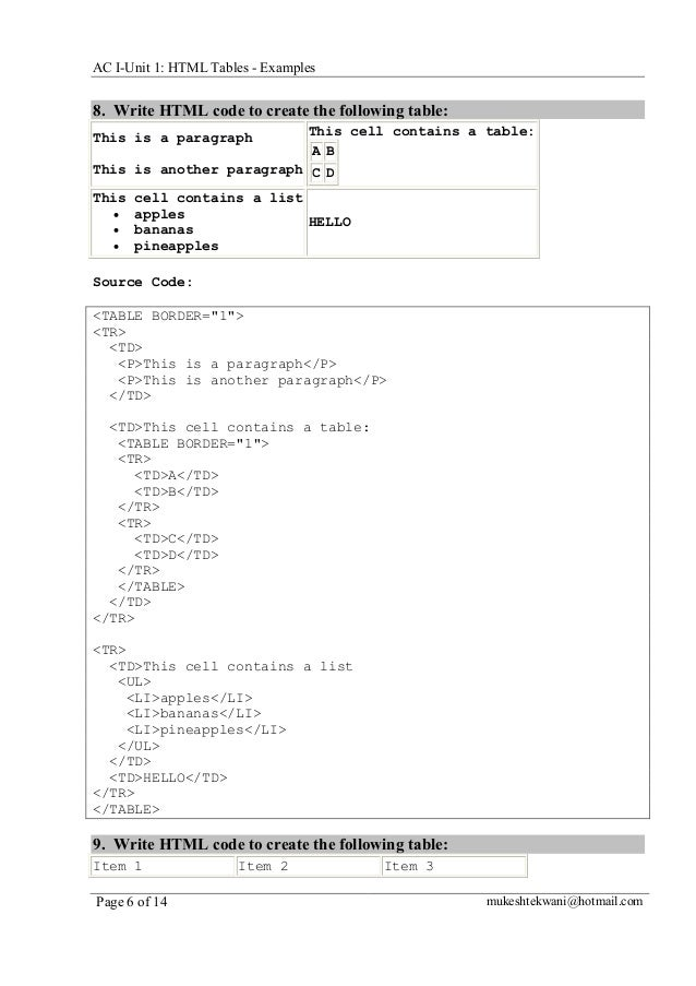 AC I-Unit 1: HTML Tables - Examples  8. Write HTML code to create the following table: This is a paragraph  This cell cont...