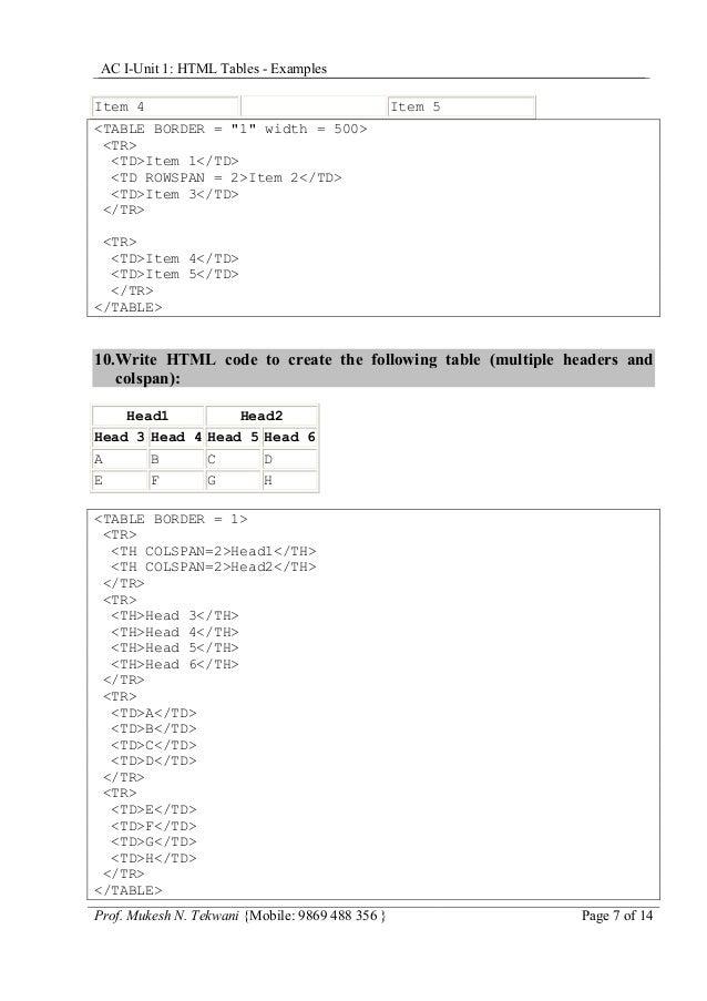 "AC I-Unit 1: HTML Tables - Examples Item 4  Item 5  <TABLE BORDER = ""1"" width = 500> <TR> <TD>Item 1</TD> <TD ROWSPAN = 2>..."