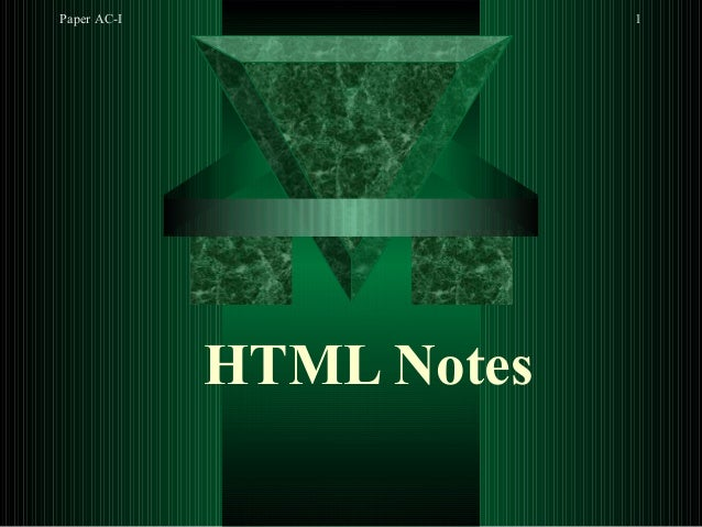 Paper AC-I 1 HTML Notes