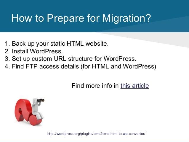 HTML to WordPress Migration Plugin. How It Works slideshare - 웹
