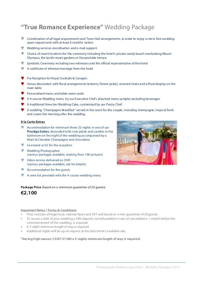 3 Pomegranate Wellness Spa Hotel Wedding Packages 2014