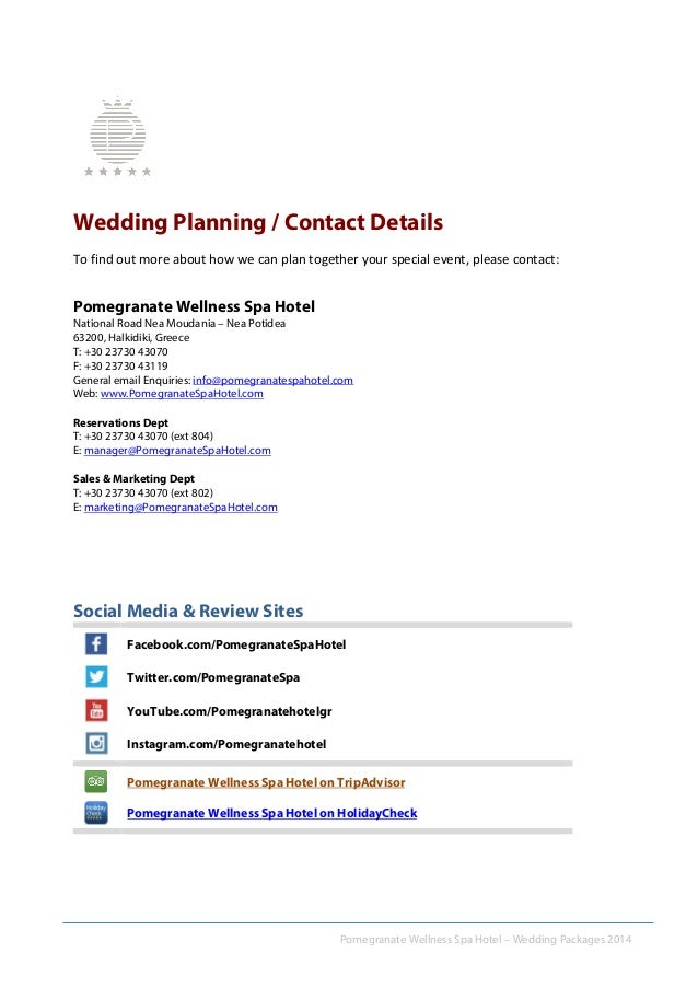 6 Pomegranate Wellness Spa Hotel Wedding Packages 2014