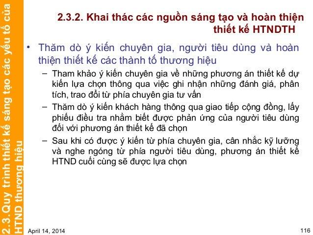 CHƯƠNG 3 TRIỂN KHAI VÀ QUẢN LÝ HỆ THỐNG NHẬN DIỆN THƯƠNG HIỆU April 14, 2014 121 THIẾTKẾVÀTRIỂNKHAIHTNDTH