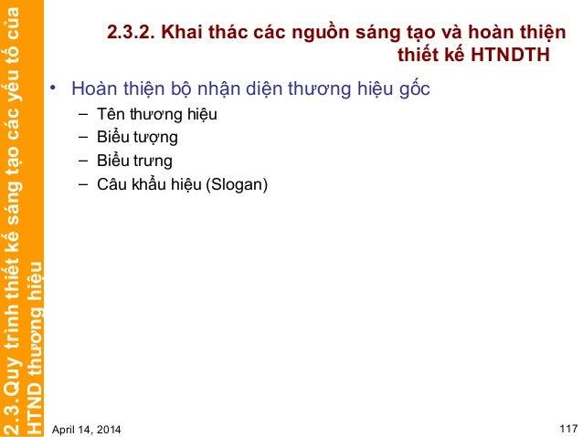 Chương 3 TRIỂN KHAI HỆ THỐNG NHẬN DIỆN THƯƠNG HIỆU April 14, 2014 122