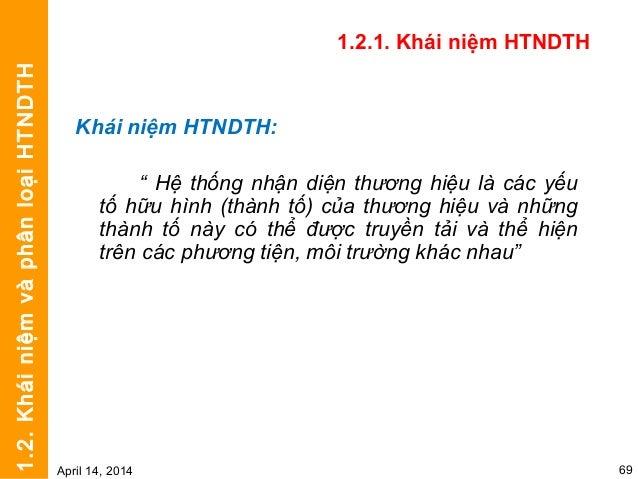 1.2.2. Phân loại HTNDTH • Theo mức độ quan trọng của các yếu tố nhận diện – HTNDTH cốt lõi • Tên thương hiệu • Biểu trưng ...