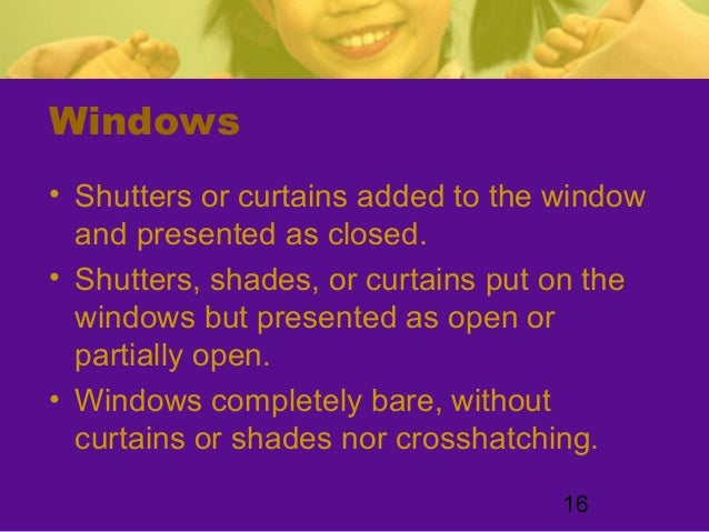 16Windows• Shutters or curtains added to the windowand presented as closed.• Shutters, shades, or curtains put on thewindo...