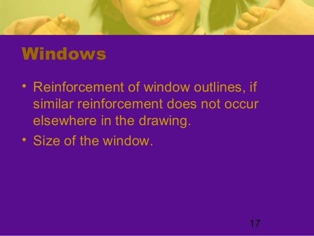 17Windows• Reinforcement of window outlines, ifsimilar reinforcement does not occurelsewhere in the drawing.• Size of the ...