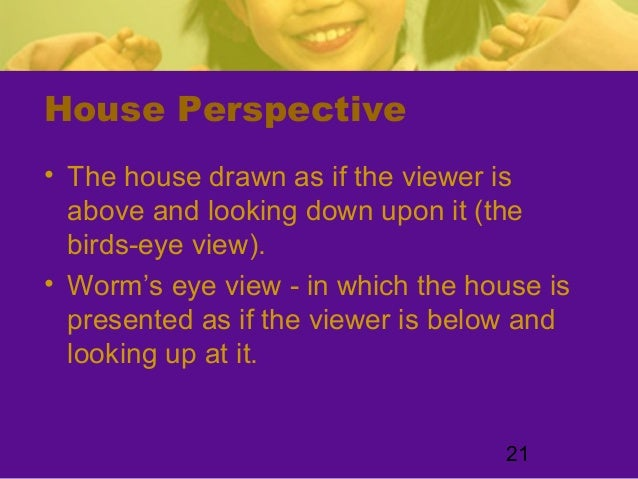 21House Perspective• The house drawn as if the viewer isabove and looking down upon it (thebirds-eye view).• Worm's eye vi...