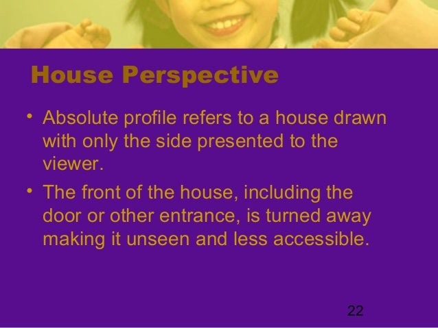 22House Perspective• Absolute profile refers to a house drawnwith only the side presented to theviewer.• The front of the ...