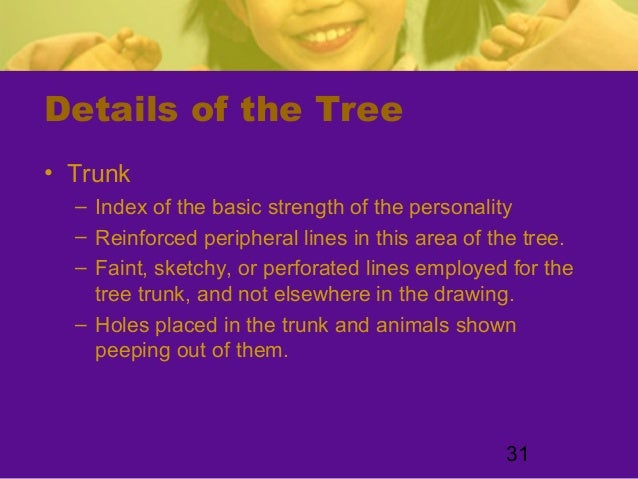 31Details of the Tree• Trunk– Index of the basic strength of the personality– Reinforced peripheral lines in this area of ...