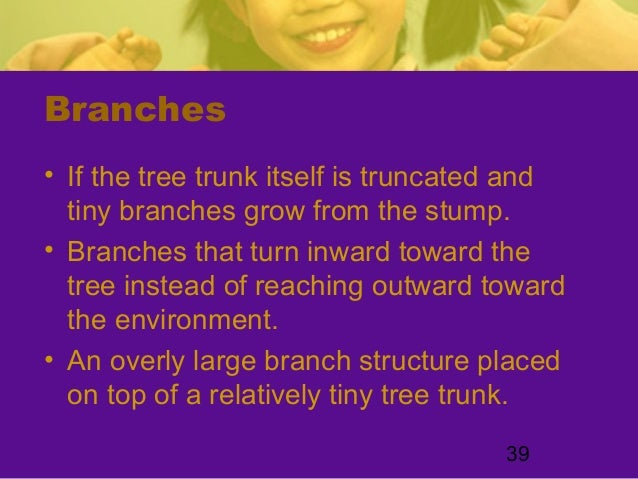 39Branches• If the tree trunk itself is truncated andtiny branches grow from the stump.• Branches that turn inward toward ...