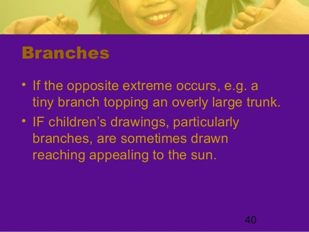 40Branches• If the opposite extreme occurs, e.g. atiny branch topping an overly large trunk.• IF children's drawings, part...