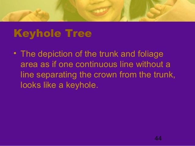 44Keyhole Tree• The depiction of the trunk and foliagearea as if one continuous line without aline separating the crown fr...