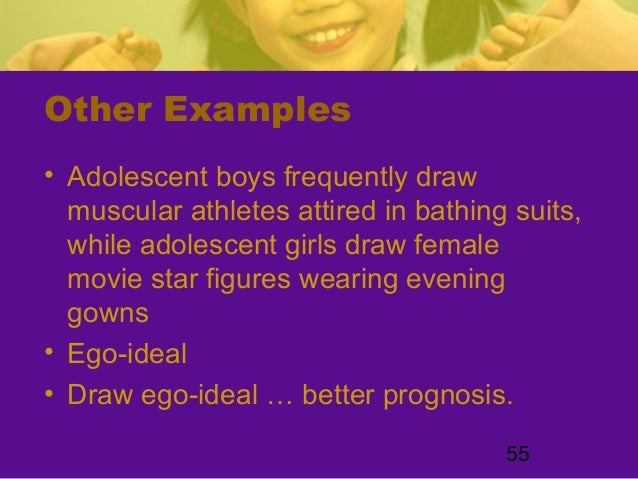 55Other Examples• Adolescent boys frequently drawmuscular athletes attired in bathing suits,while adolescent girls draw fe...