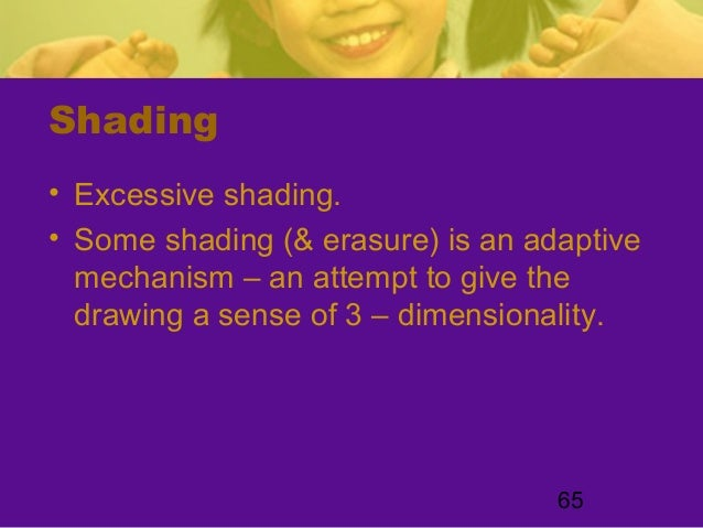 65Shading• Excessive shading.• Some shading (& erasure) is an adaptivemechanism – an attempt to give thedrawing a sense of...