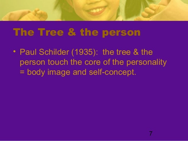 7The Tree & the person• Paul Schilder (1935): the tree & theperson touch the core of the personality= body image and self-...