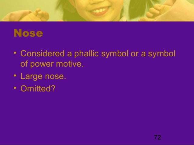 72Nose• Considered a phallic symbol or a symbolof power motive.• Large nose.• Omitted?