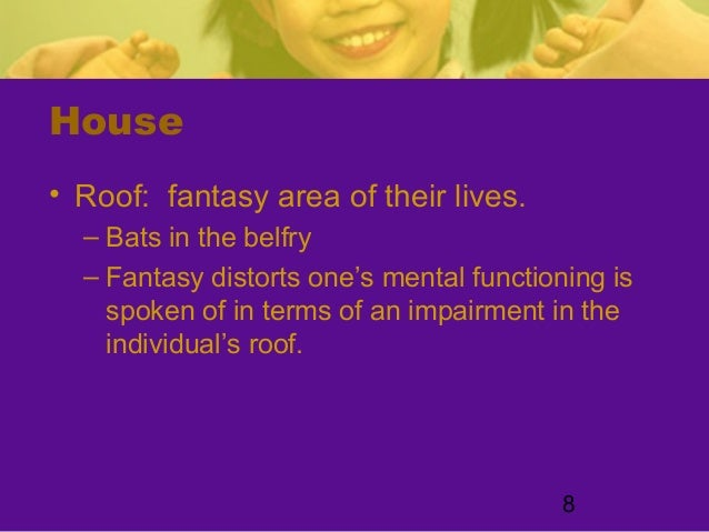 8House• Roof: fantasy area of their lives.– Bats in the belfry– Fantasy distorts one's mental functioning isspoken of in t...