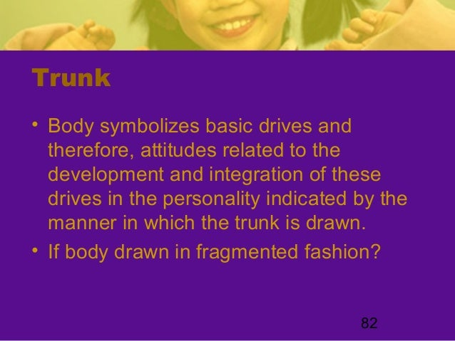 82Trunk• Body symbolizes basic drives andtherefore, attitudes related to thedevelopment and integration of thesedrives in ...