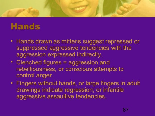 87Hands• Hands drawn as mittens suggest repressed orsuppressed aggressive tendencies with theaggression expressed indirect...